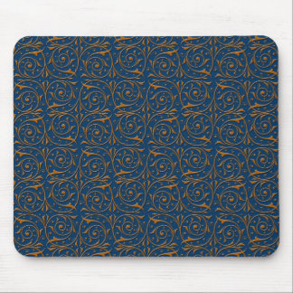 Blue and Gold Swirling Vines Pattern Mouse Pad