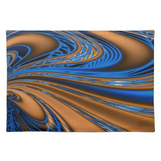 Blue and Gold Swirls Cloth Placemat