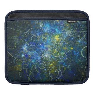 Blue and Gold Swirly Fractal iPad Sleeve