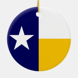 Blue and Gold Texas Flag Ceramic Ornament