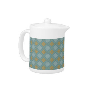 Blue and Gold Tiled Pattern Teapot