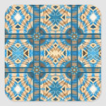 Blue and gold tiles square stickers