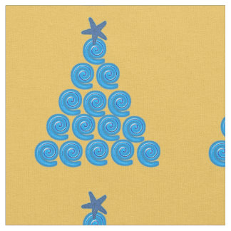 Blue and Gold Tree Fabric