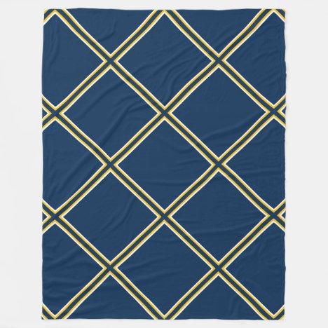 Blue and Gold Trellis Pattern Fleece Blanket