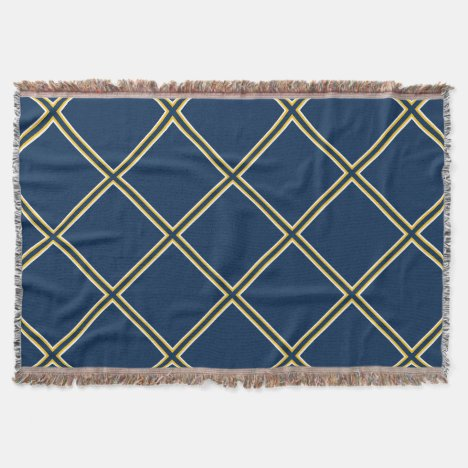 Blue and Gold Trellis Pattern Throw Blanket
