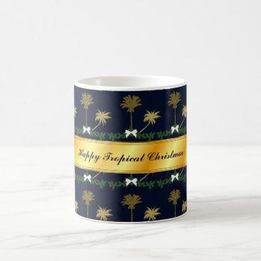 Blue and Gold Tropical Christmas with Palm Trees Coffee Mug