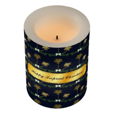 Blue and Gold Tropical Christmas with Palm Trees Flameless Candle