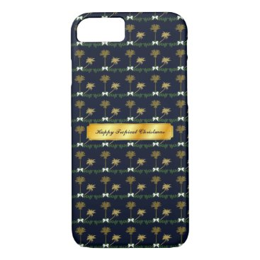 Beach Themed Blue and Gold Tropical Christmas with Palm Trees iPhone 8/7 Case