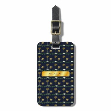 Blue and Gold Tropical Christmas with Palm Trees Luggage Tag