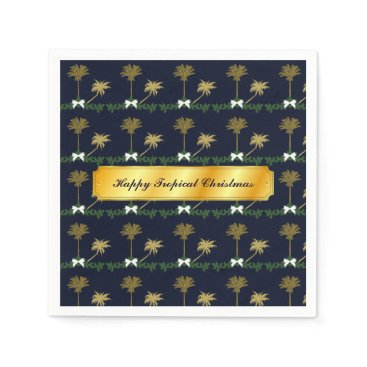 Blue and Gold Tropical Christmas with Palm Trees Paper Napkin