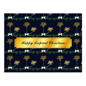 Beach Themed Blue and Gold Tropical Christmas with Palm Trees Postcard