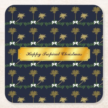 Blue and Gold Tropical Christmas with Palm Trees Square Paper Coaster