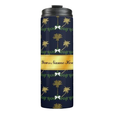 Blue and Gold Tropical Christmas with Palm Trees Thermal Tumbler