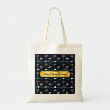 Beach Themed Blue and Gold Tropical Christmas with Palm Trees Tote Bag