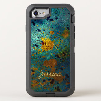 Blue and Gold Vine OtterBox Defender iPhone 8/7 Case