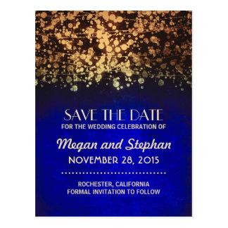 blue and gold vintage string lights save the date postcard