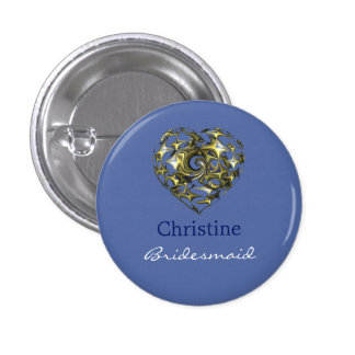 Blue and Gold Wedding Heart Pinback Button