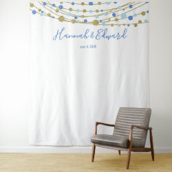 blue and gold wedding photo backdrop party banner