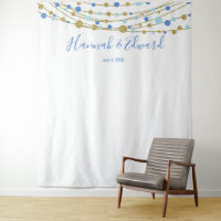 blue and gold wedding photo backdrop party banner tapestry