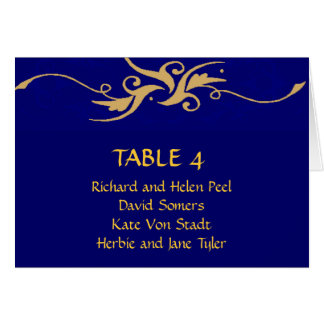 Blue and gold wedding seating chart card