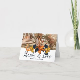 Blue and Gold Wedding Thank You Card
