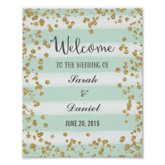 Blue and Gold Welcome Poster Print