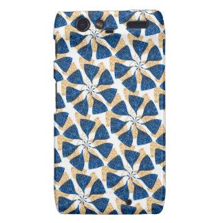Blue and Gold Winter Snowflake Pattern Pinwheel Motorola Droid RAZR Cover