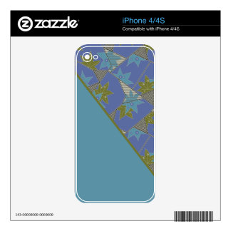 Blue and Gold with Stars and Diagonal Interest iPhone 4 Skins