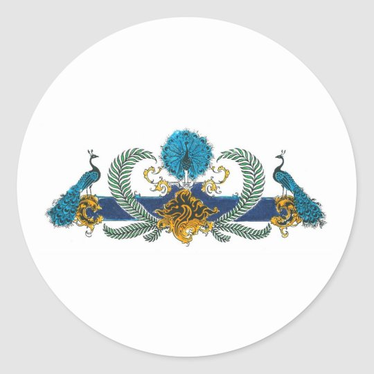 Blue and golden peacocks and wreaths classic round sticker