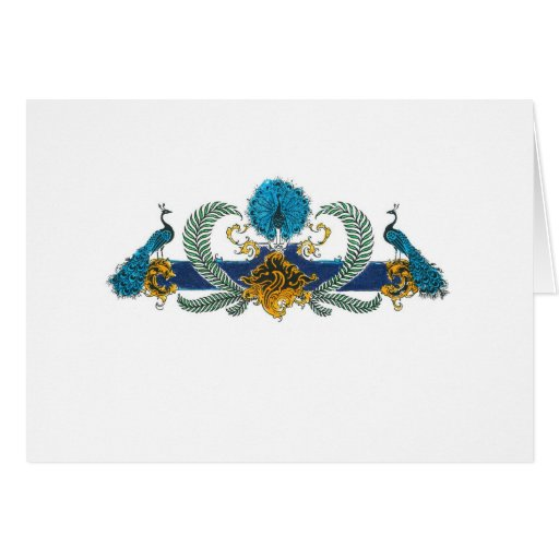 Blue and golden peacocks and wreaths greeting card