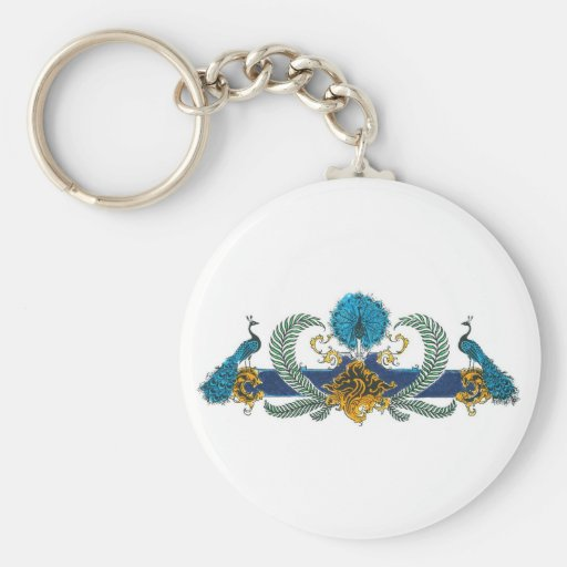Blue and golden peacocks and wreaths basic round button keychain