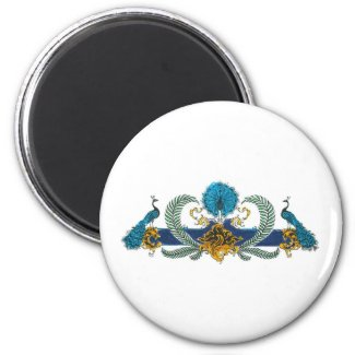 Blue and golden peacocks and wreaths fridge magnet