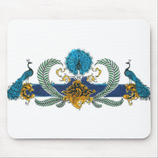 Blue and golden peacocks and wreaths mousepad