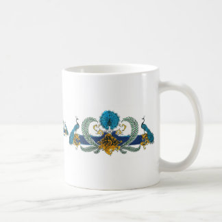 Blue and golden peacocks and wreaths classic white coffee mug