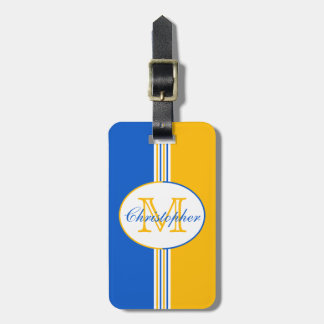 Blue and Golden Yellow Stripes Monogram Bag Tag