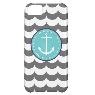 Blue and Gray Anchor with Waves Pattern iPhone 5C Cover