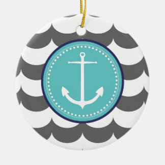 Blue and Gray Anchor with Waves Pattern Ceramic Ornament
