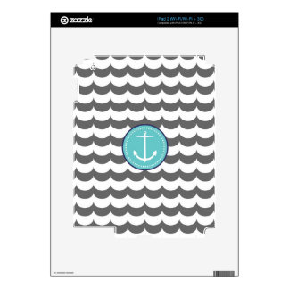 Blue and Gray Anchor with Waves Pattern Decals For The iPad 2