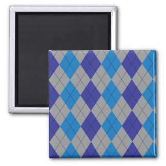 Blue and Gray Argyle Magnet