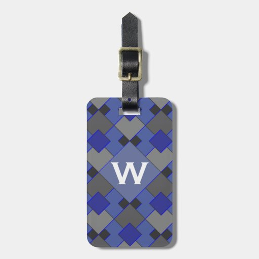 Blue and Gray Argyle Pattern Monogram Tag For Bags