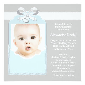 """Blue and Gray Baby Boy Photo Christening 5.25"""" Square Invitation Card"""