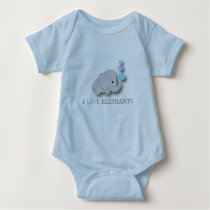 Blue and Gray Baby Elephant Baby Bodysuit