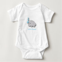Blue and Gray Baby Elephant - Little Peanut Baby Bodysuit