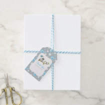 Blue and Gray Baby Owl Baby Shower Thank You Gift Tags