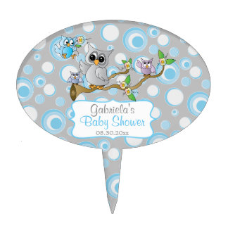 Blue and Gray Baby Owl | Shower Theme Cake Topper