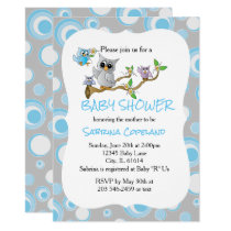 Blue and Gray Baby Owl | Shower Theme Card