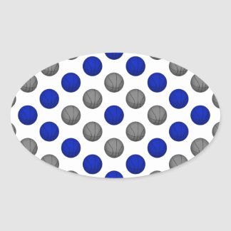Blue and Gray Basketball Pattern Oval Sticker