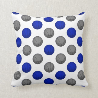 Blue and Gray Basketball Pattern Pillow