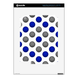 Blue and Gray Basketball Pattern Decal For iPad 3
