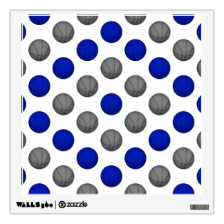 Blue and Gray Basketball Pattern Wall Sticker